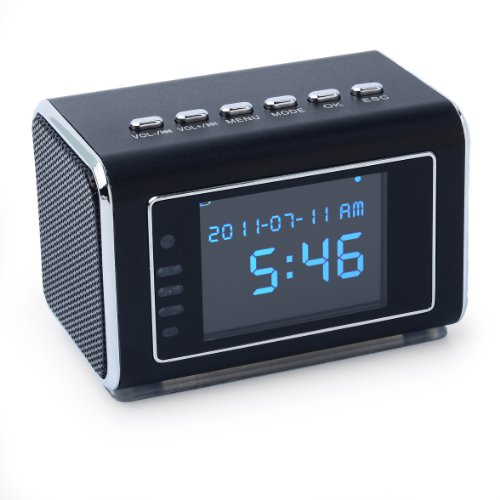 Jumbl™ Mini Hidden Spy Camera Radio Clock w/Infrared Night Vision – Built-In Screen, Speaker, Micro SD Slot & AUX Line In – Standalone Operation w/o Need for Computer for your Home, Kids & More – Black