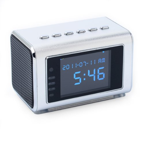 Jumbl™ Mini Hidden Spy Camera Radio Clock w/Motion Detection & Infrared Night Vision – Built-In Screen, Speaker, Micro SD Slot & AUX Line In – Standalone Operation w/o Need for Computer for your Home