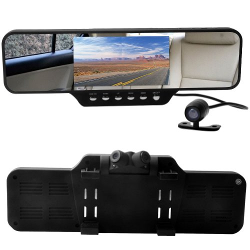 E-PRANCE Car DVR Mirror Rearview Mirror + Dual Swivel Front Cameras+Rear Backup Camera + Ultra Wide Angle 360 Degrees + 4.3″ LCD + HD 1920*720P + G-Sensor