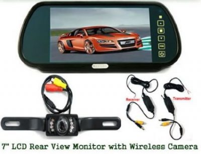 7″ TFT COLOR MONITOR MIRROR + WIRELESS CAR 7 IR REARVIEW PARKING CAMERA KIT