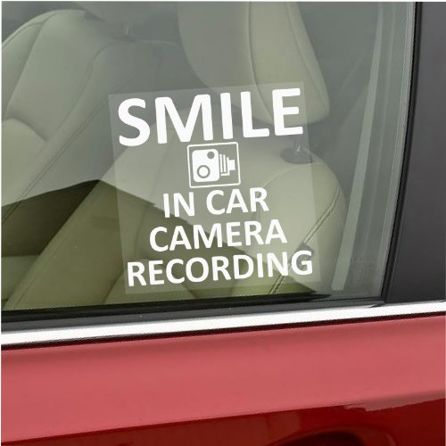Smile In Car Camera Recording Window Sticker-87mm x 87mm-CCTV Sign – Van,Lorry,Truck,Taxi,Bus,Mini Cab,Minicab