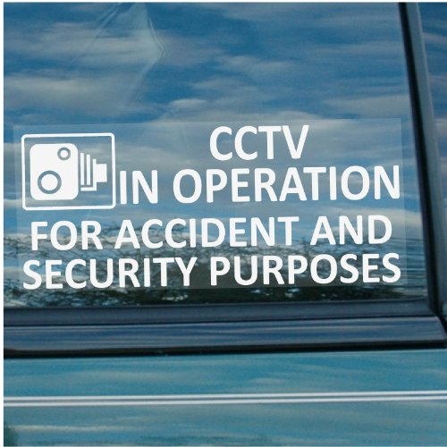 CCTV In Operation for Accident and Security Purposes Window Sticker 200mm x 87mm-CCTV Sign – Van,Lorry,Truck,Taxi,Bus,Mini Cab,Minicab