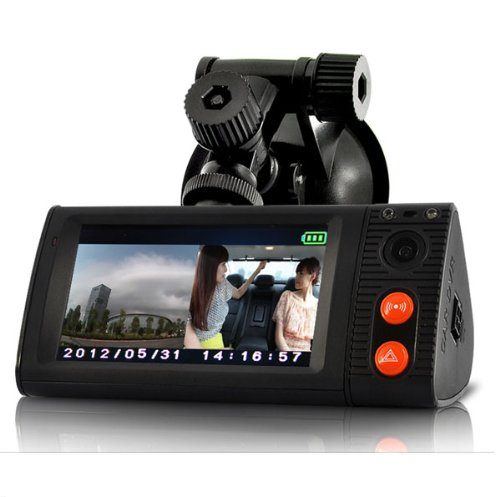 3 inch touchscreen Dual Camera Car Blackbox video recorder DVR with GPS Logger and 3D G-Sensor P7