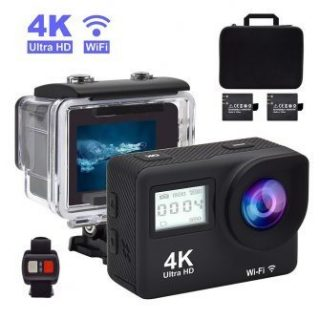 Accfly 4K Waterproof Sports Action Camera, 2 Rechargeable Battery, Free Travel Bag